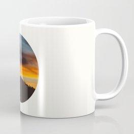 Mid Century Modern Round Circle Photo Graphic Design Orange And Blue Sunset Pine Forest Hill Coffee Mug