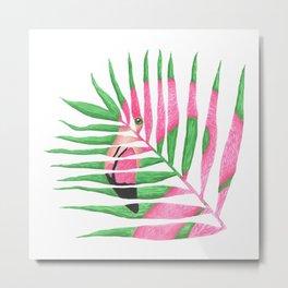 Pink Flamingo Palm Leaf Metal Print