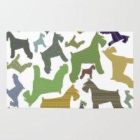schnauzer Area & Throw Rugs featuring schnauzer pattern by monicamarcov