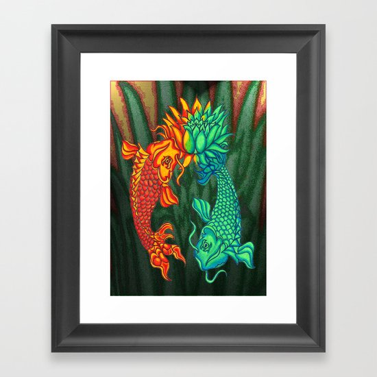 Koi Fish Lotus Framed Art Print