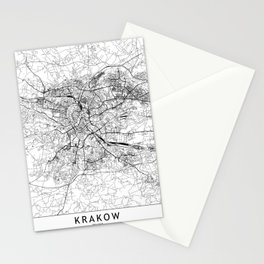 Krakow White Map Stationery Cards