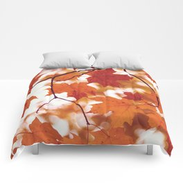 Fluttering from the Autumn tree Comforters