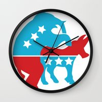 politics Wall Clocks featuring Politics by Mike Stark