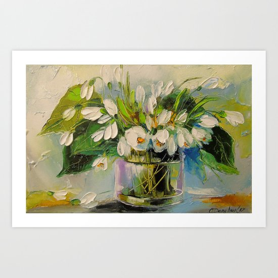 Bouquet of snowdrops Art Print