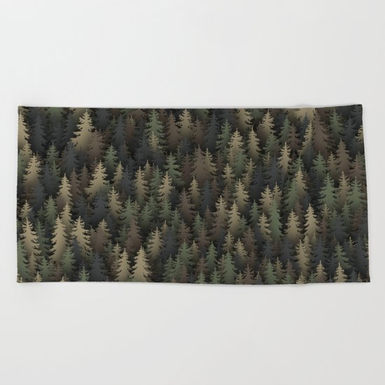 Forest camouflage Beach Towel