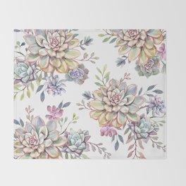 succulent watercolor 10 Throw Blanket