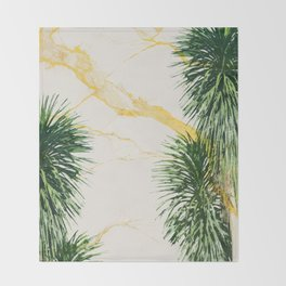 Gold marble texture with palm tree 1 Throw Blanket