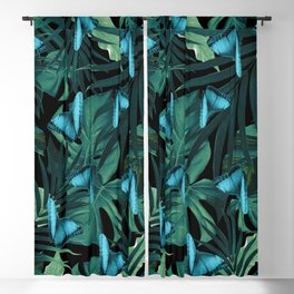 Tropical Butterfly Jungle Night Leaves Pattern #5 #tropical #decor #art #society6 Blackout Curtain