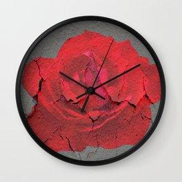 SHABBY CHIC RED ROSE GARDEN  GREY ART Wall Clock
