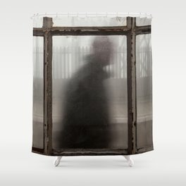 A Man Walking Behind the Old Station Shower Curtain