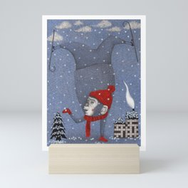Monkey in the Snow Mini Art Print