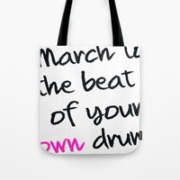drum Tote Bags featuring drum by Sharlene Tait
