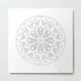 Ultimate Gray Outline Rose Window Metal Print