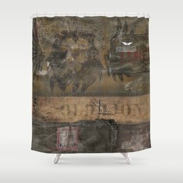 Old Lion (Boro Style) Shower Curtain