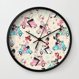 Scooter Girls Pattern Wall Clock
