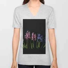 Pink Purple and White Hyacinths Unisex V-Neck