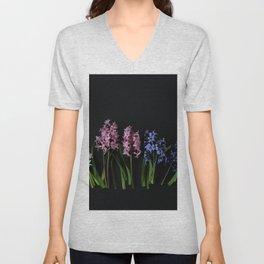 Pink Purple and White Hyacinths Unisex V-Neck