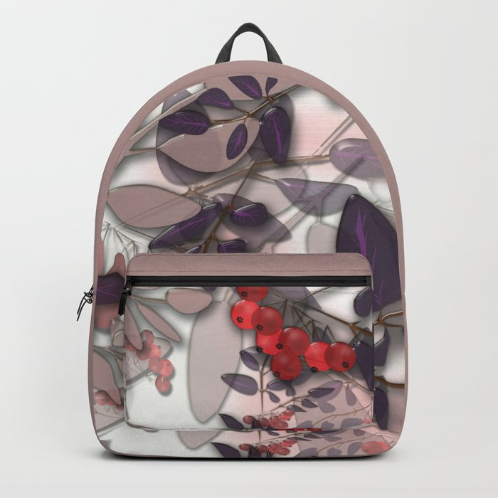 Bunches of red Rowan. Autumn. Backpack