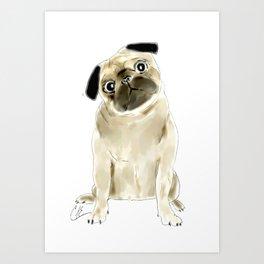 Sitting Pug Art Print