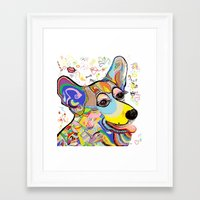 corgi Framed Art Prints featuring Corgi by EloiseArt