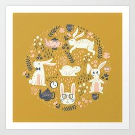 Bunnies + Teapots in Gold Art Print