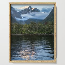 Sunset in beautiful Harrison Cove at Milford Sound Serving Tray