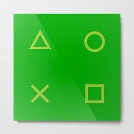 Green Gamer Pattern Metal Print