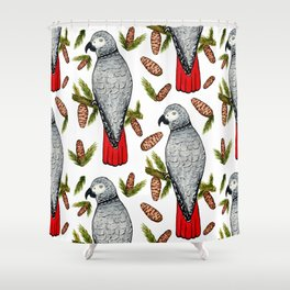 African Grey on a Fir Branch in Watercolor Shower Curtain