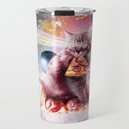 Outer Space Pizza Cat - Rainbow Laser, Taco, Burrito Travel Mug