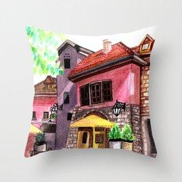 Vintage house street cafe Throw Pillow