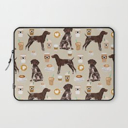 German Shorthair Pointer dog breed custom pet portrait coffee lover pet friendly gifts Laptop Sleeve