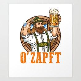 Funny Oktoberfest  - Beer Drinking T-Shirt Art Print
