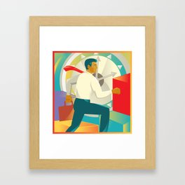Businessman Officer Worker Clock Retro Framed Art Print