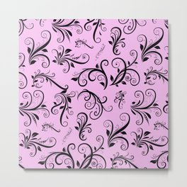 Royal Damask, Ornaments, Swirls - Pink Black Metal Print