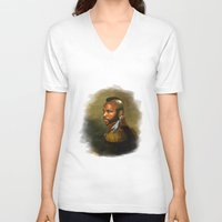 replaceface V-neck T-shirts featuring Mr. T - replaceface by replaceface