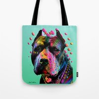 pit bull Tote Bags featuring pit bull  by mark ashkenazi