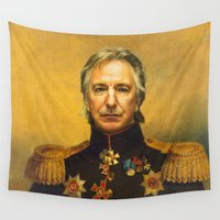 replaceface Wall Tapestries featuring Alan Rickman - replaceface by replaceface
