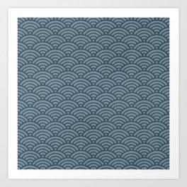 Blue Indigo Denim Waves Art Print