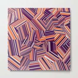 Berry Offcuts - Voronoi Stripes Metal Print