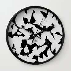 Black Bird Wings on Grey Wall Clock