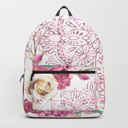 Mandala Rose Garden Pink on White Backpack