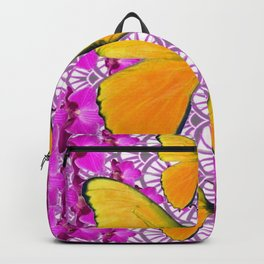 FUCHSIA COLORED  ORCHIDS &  YELLOW  BUTTERFLY FLORAL Backpack