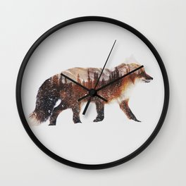 Arctic Red Fox Wall Clock