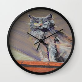 cat with one eye Wall Clock