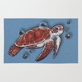 Turtle Swimming, Bubbles, Ocean Blue, Wildlife Art Rug