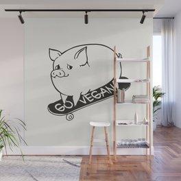 Skateboarding Vegan Pig Wall Mural