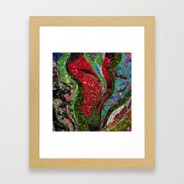 Retro Glitter Sky - Red Green Palatte Framed Art Print