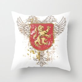 Coat of Arms Shield - Griffin Seal - Crown Lion and the Mark Throw Pillow