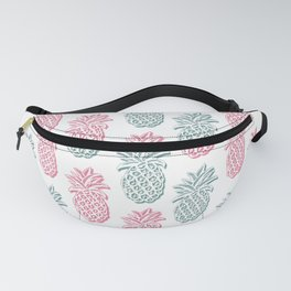 pineapple pink and blue on white Fanny Pack