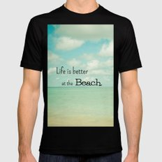 Life is Better at the Beach Mens Fitted Tee Black MEDIUM